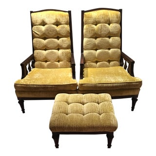 Mid Century Modern Retro Yellow Tufted Velvet Chairs & Ottoman