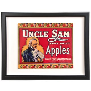 Framed Vintage Uncle Sam Apple Crate Label