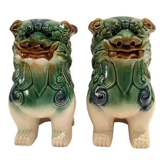 Hand Painted Ceramic Foo Dog Sculptures - Pair