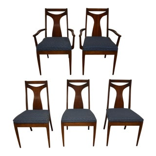 Kent Coffey Perspecta Walnut Dining Chairs- Set of 5