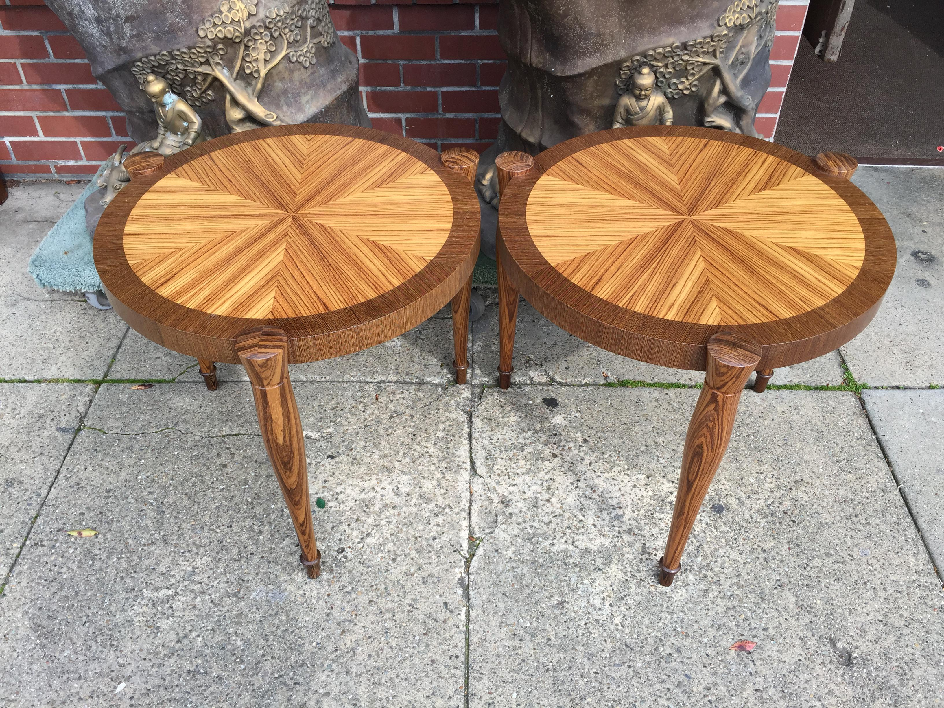 art deco zebra wood end tables - a pair | chairish