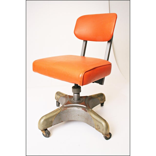 Vintage Orange Industrial Steel Office Chair - Image 2 of 11