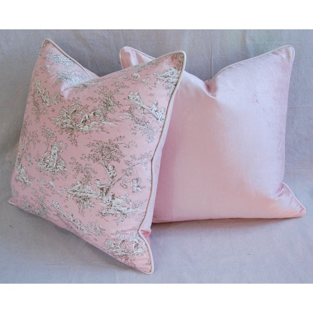 Designer French Pink Toile & Velvet Feather/Down Pillows - Pair - Image 6 of 11