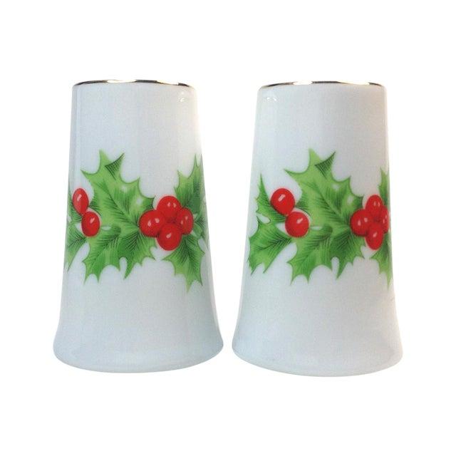 Image of Porcelain Christmas Holly Salt & Pepper Shakers