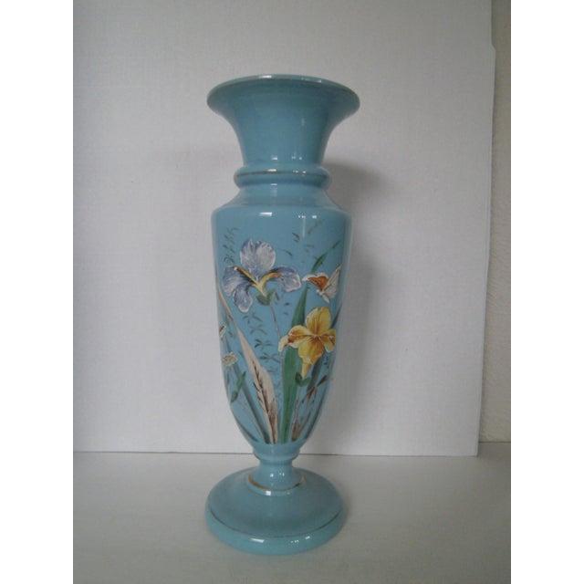 Large Robins Egg Blue Bristol Glass Vase - Image 2 of 7