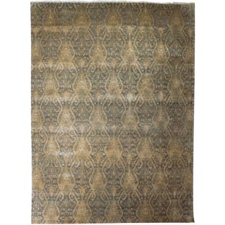Hand Knotted Indian Ikat Rug - 9′ × 12′