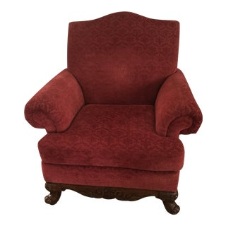 Red Velvet Arm Chair With Claw Feet