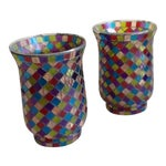 Image of Moroccan Mosaic Glass Candle Votives - A Pair