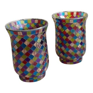 Moroccan Mosaic Glass Candle Votives - A Pair