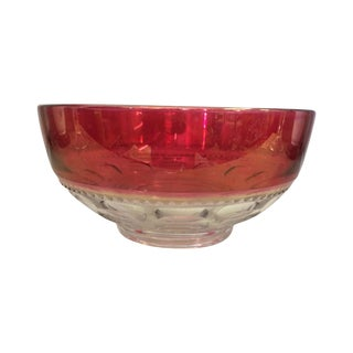 Vintage Cranberry Pressed Glass Bowl
