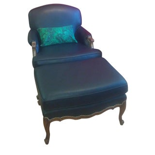 French Bergere Chair and Ottoman Set