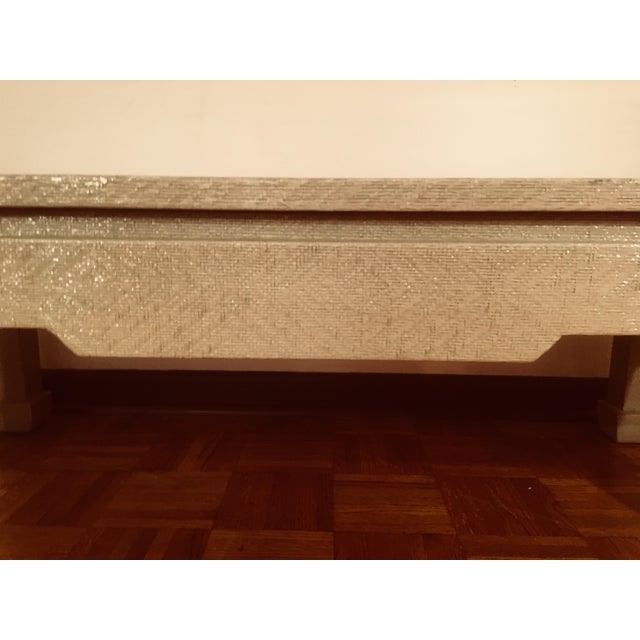 Baker Greige Grasscloth Wrapped Coffee Table With Chow Feet - Image 5 of 7