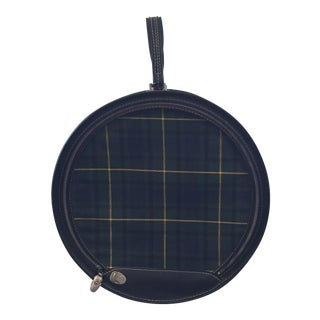 1950 Atlantic Blue Tartan Plaid Hat Box