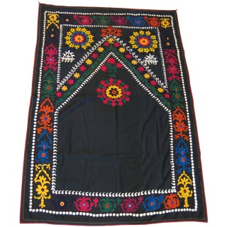 Antique Black Cotton Embroidered Suzani Wall Hanging