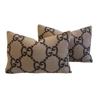 Designer Custom-Tailored Gucci Cashmere & Velvet Pillows - Pair