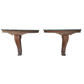 Marble and Giltwood Consoles - A Pair