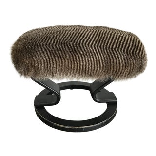Faux Fur & Bent Wood Vanity Stool