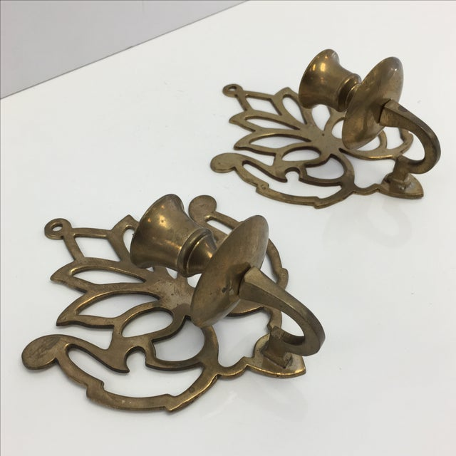 Image of Vintage Brass Candle Wall Sconces - Pair