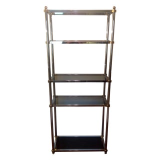 Maison Jansen Etagere, Chrome & Brass Smoked Glass