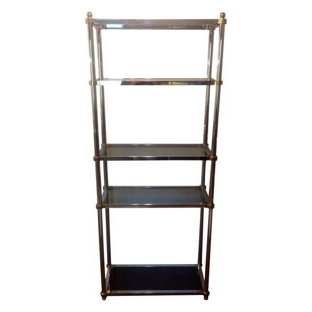 Maison jansen etagere chrome brass smoked glass chairish - Etagere faite maison ...