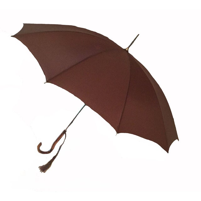 Chic Chocolate Brown Italian Vintage Umbrella - Image 1 of 2