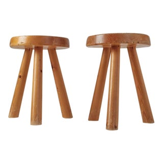 Charlotte Perriand Pair of Tripod Pine Stool from Les Arcs, France, 1960s