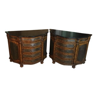 Tessellated Marble Top Chests - A Pair