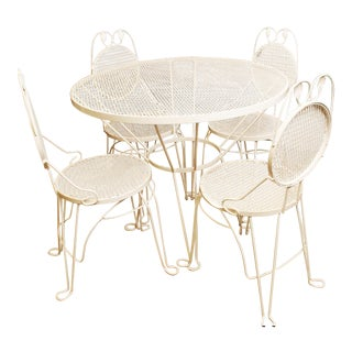 Vintage White Metal Patio Set
