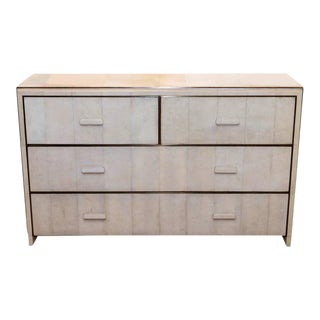 White Shagreen Four-Drawer Commode with Bronze Trim