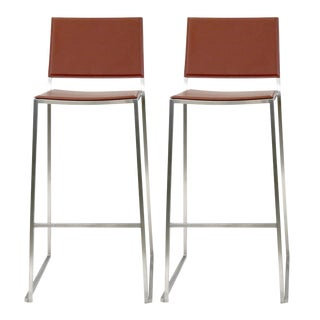 Idealsedia Italian Red Leather & Brushed Stainless Steel Frame Barstools - A Pair