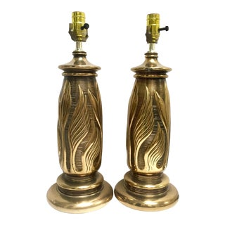 Vintage Solid Brass Table Lamps - a Pair