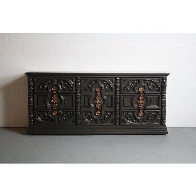 Hollywood Regency Gray & Bronze Dresser - Image 2 of 9