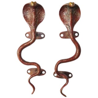 Red Brass Cobra Door Handles - A Pair