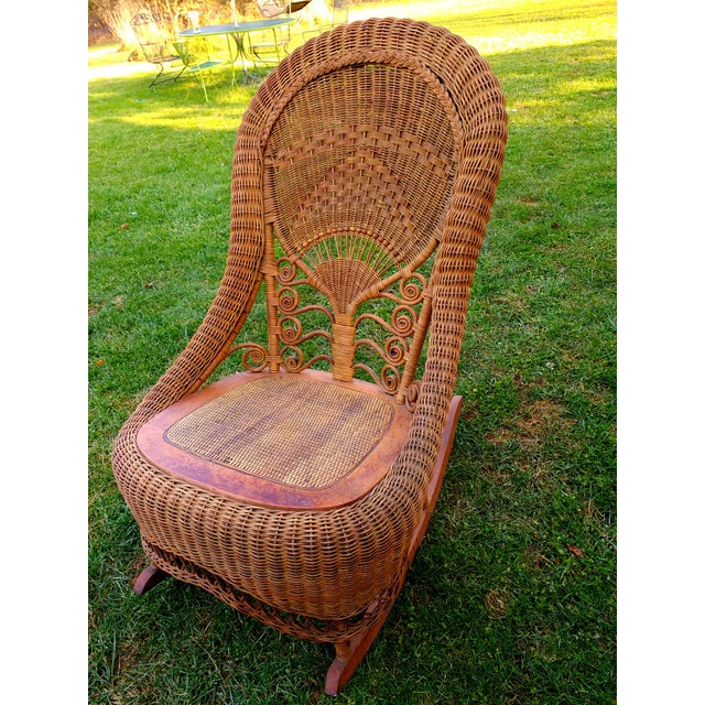 Victorian Wicker Rocking Chair Nursing Rocker in Original Condition Excellent Light Color 1800s Japanese Fanback - Image 2 of 11