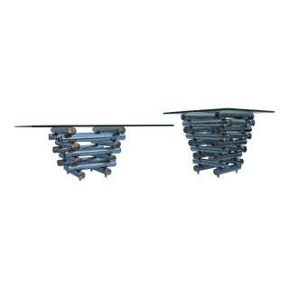 Stacked Tubular Chrome Glass Top Tables- Set of 2
