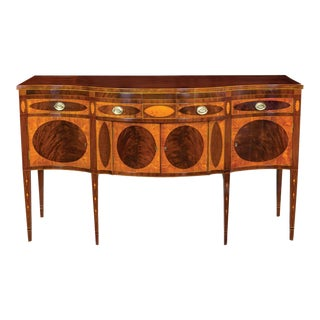 Satinwood & Mahogany Serpentine Front Sideboard