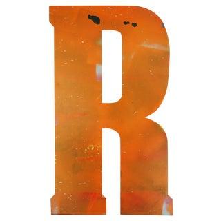 Large Orange Salvage Metal Marquee Letter 'R'