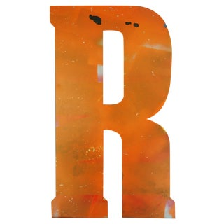 Large Orange Salvage Metal Marquee Letter 'R'