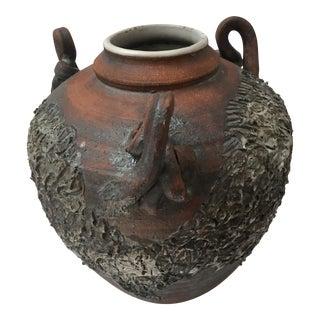 Japanese Style Raku Handled Urn Pot