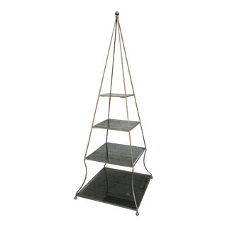 Pair of 1960s Metal Pyramid Etageres with Smoked Glass Shelves