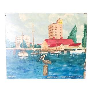 Mid Century Painting, Sarasota, Florida Bayfront Pelican