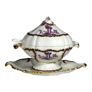 18th-Century Creamware Sauce Tureen Puce-Decorated by Neale & Co.