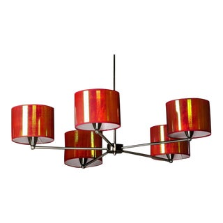 Contemporary Iridescent Red Shaded Chrome Chandelier