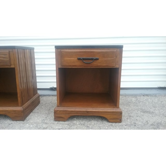 Image of A. Brandt Ranch Oak Nightstands - A Pair