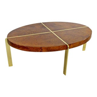 Milo Baughman Burl & Brass Coffee Table