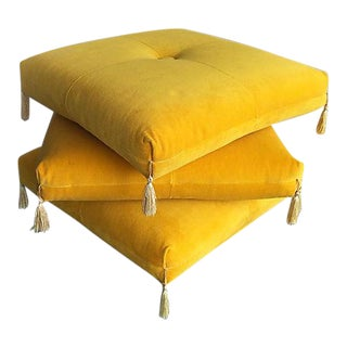 Yellow Ottoman on Casters - 3 Levels
