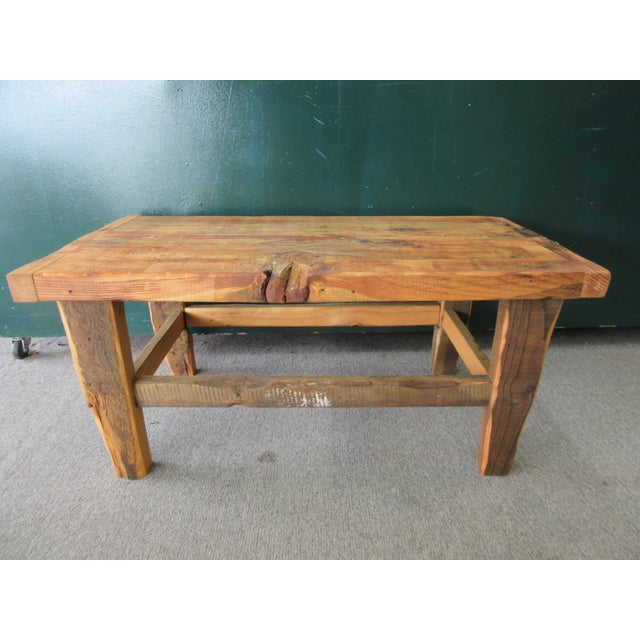 Rustic Reclaimed Pine Peg-Jointed Coffee Table - Image 3 of 11