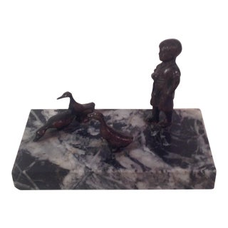 Antique Miniature Bronze   Marble Statue. Vintage   Used Gray Models and Figurines   Chairish