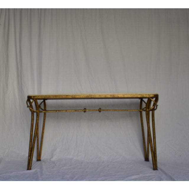 1970s Gold Leaf Console with Travertine Top - Image 7 of 7