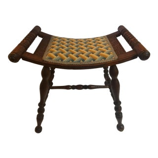 Vintage Needlepoint Stool
